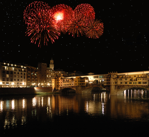 Fireworks over the Ponte Vecchio in Florence, Italy.