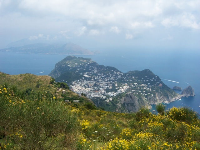 Amazing view from Monte Solaro overlooking Capri with Villa Jovis on second highest peak and the Sorrento Pensinsula beyond