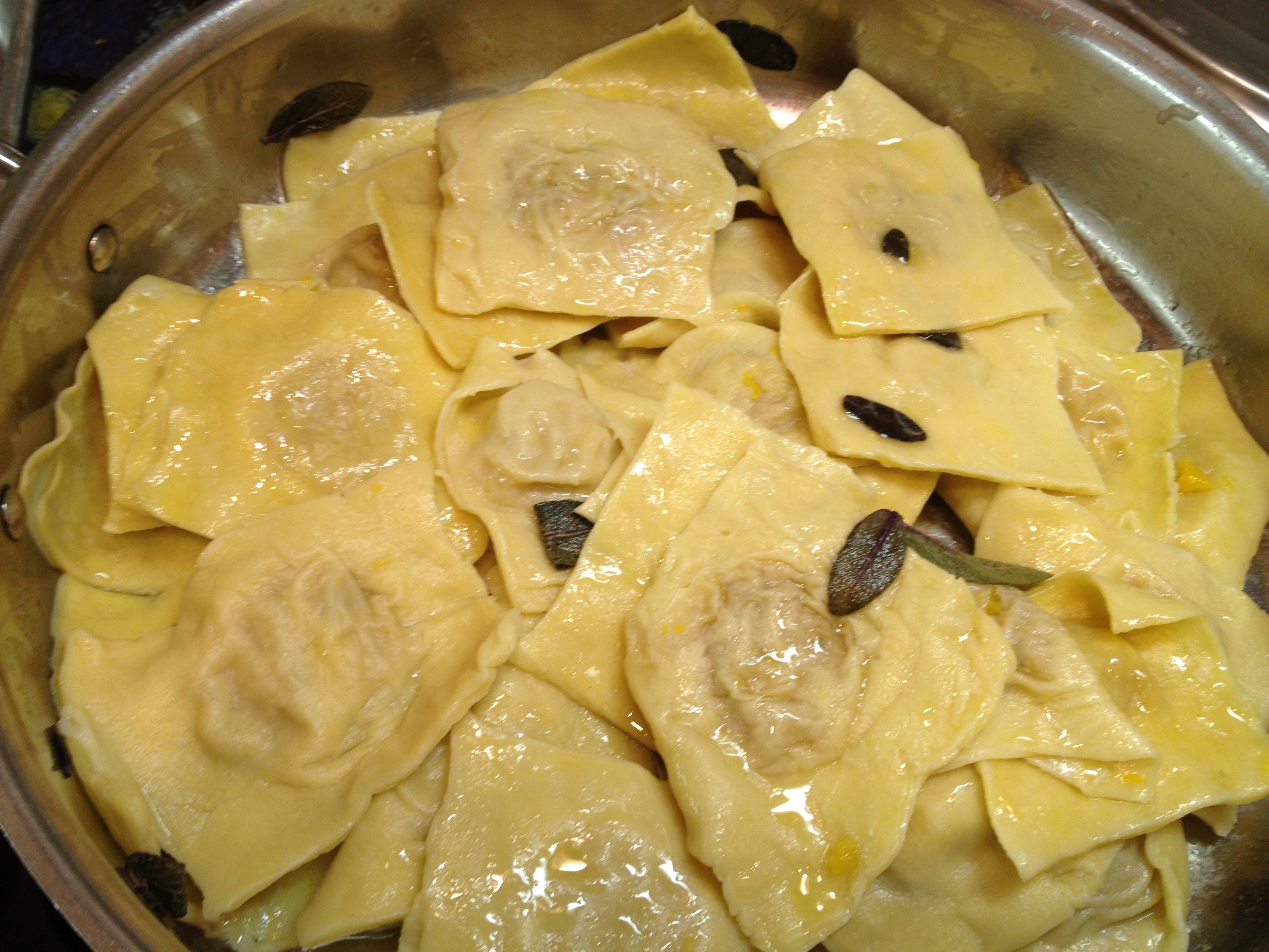 Fresh butternut squash ravioli with sage butter sauce for What to serve with butternut squash ravioli