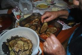 29. Start layering the eggplant